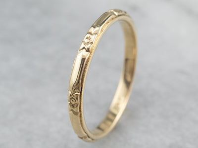 Vintage Floral Patterned Wedding Band