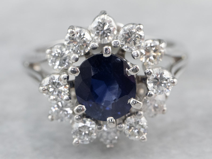 Sapphire Diamond Halo White Gold Engagement Ring