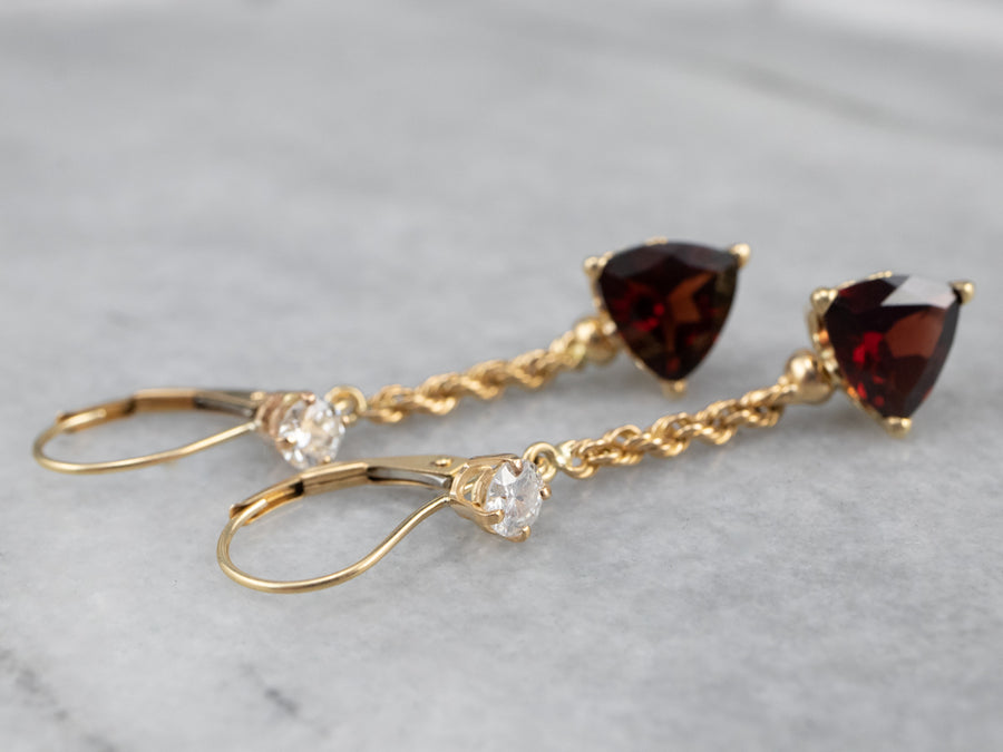 Garnet Diamond Gold Drop Earrings