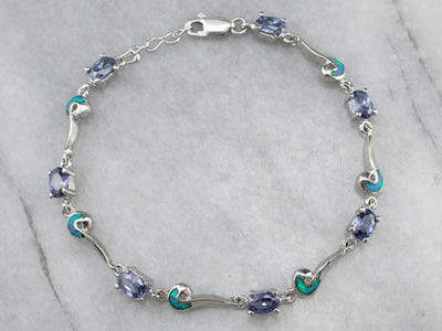 Tanzanite Synthetic Opal Silver Link Bracelet