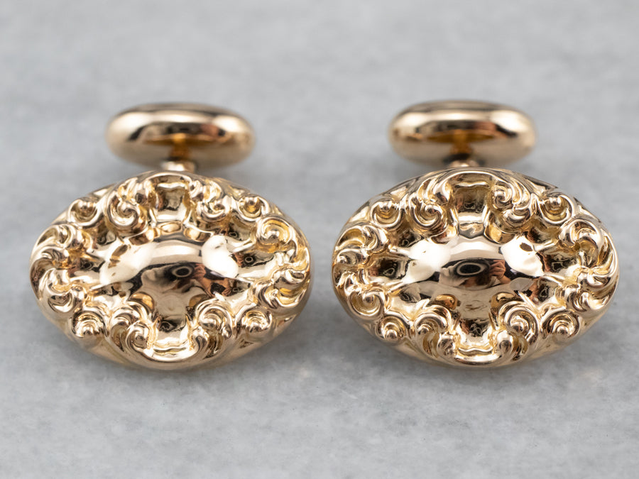 Victorian Chased Rose Gold Cufflinks