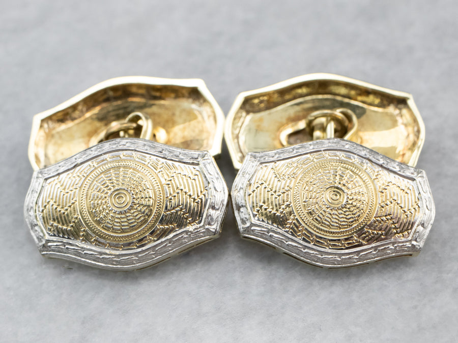 Art Deco Two Tone Gold Cufflinks