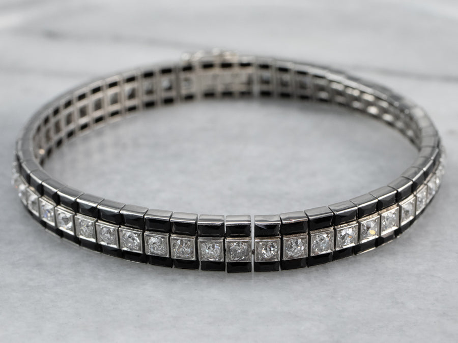 Platinum Art Deco Onyx and Old Mine Cut Diamond Bracelet