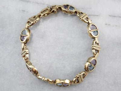Amethyst and Blue Topaz Gold Link Bracelet