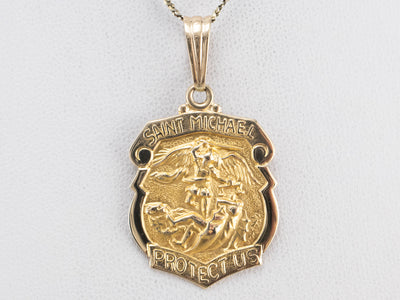 Large Gold Saint Michael Medallion