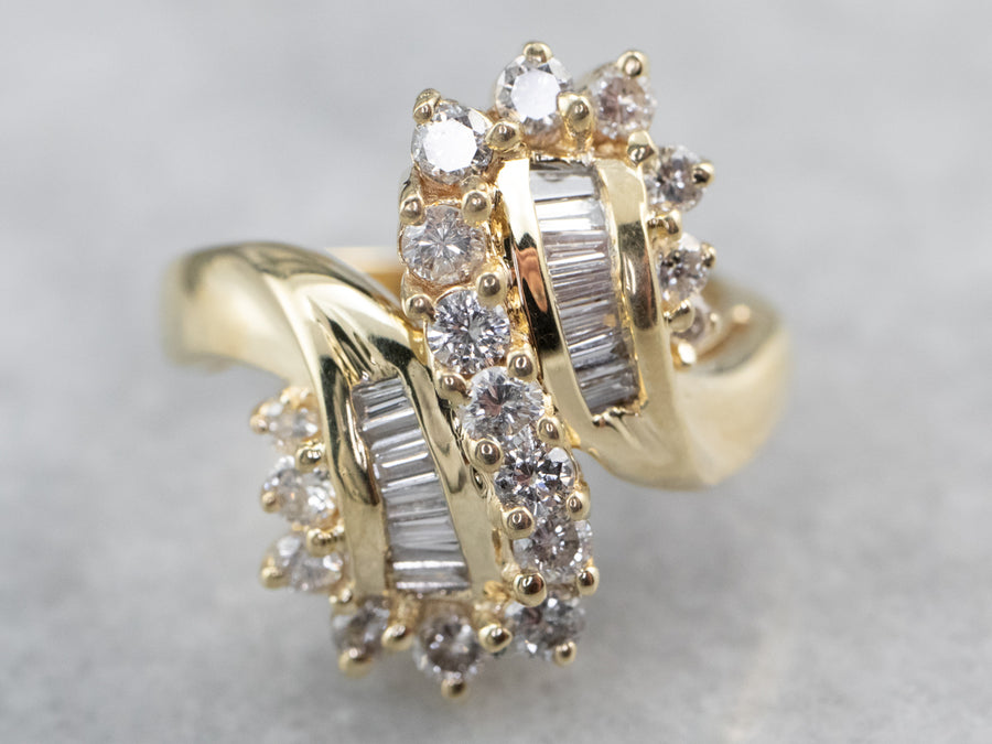 Baguette and Round Cut Diamond Bypass Ring