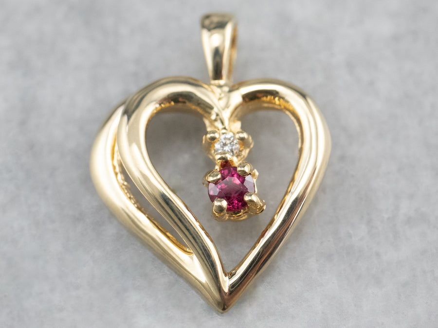 Ruby Diamond Gold Heart Pendant