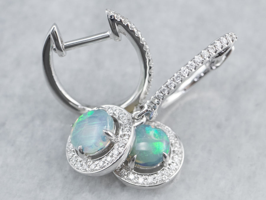 Opal Diamond White Gold Drop Earrings