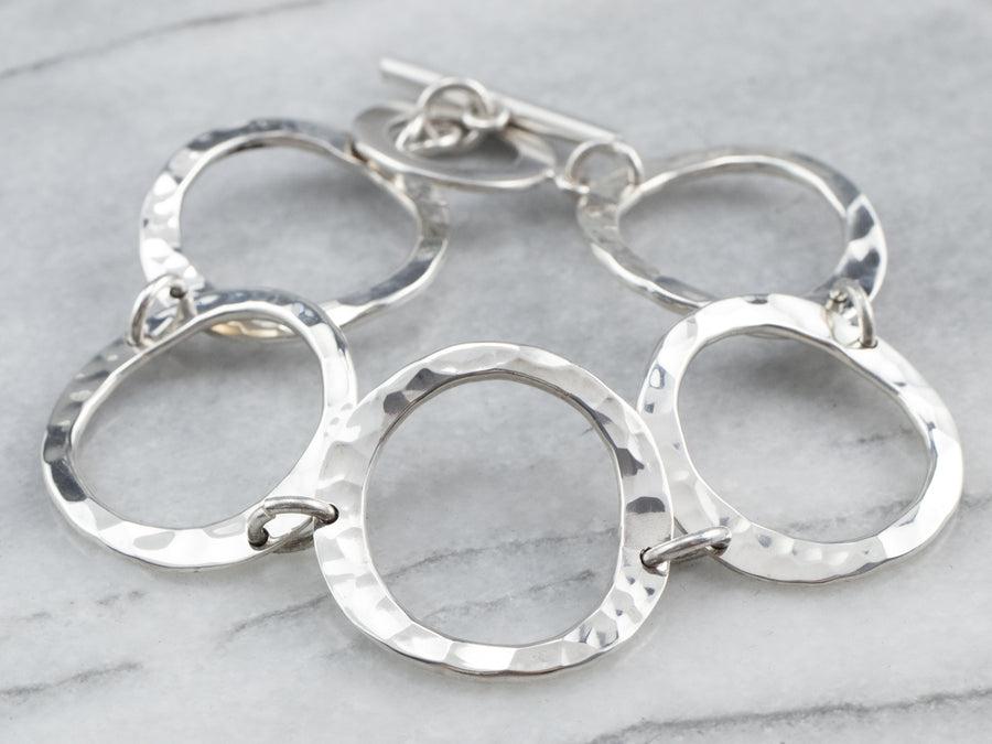 Hammered Finished Silver Link Bracelet