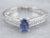 Sterling Silver Sapphire and Diamond Engagement Ring