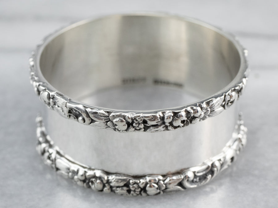 Floral Stieff Antique Sterling Silver Napkin Ring