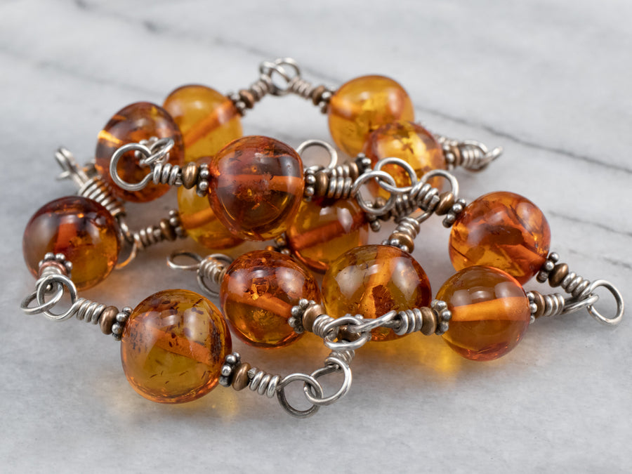 Beaded Amber Mix Metal Necklace