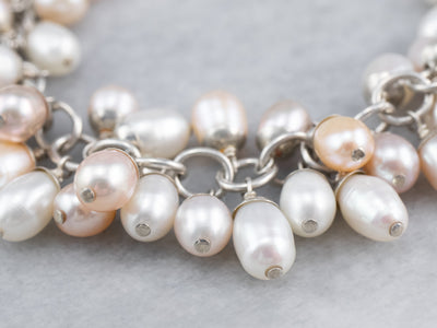 Blush and Grey Pearl Cluster Bracelet