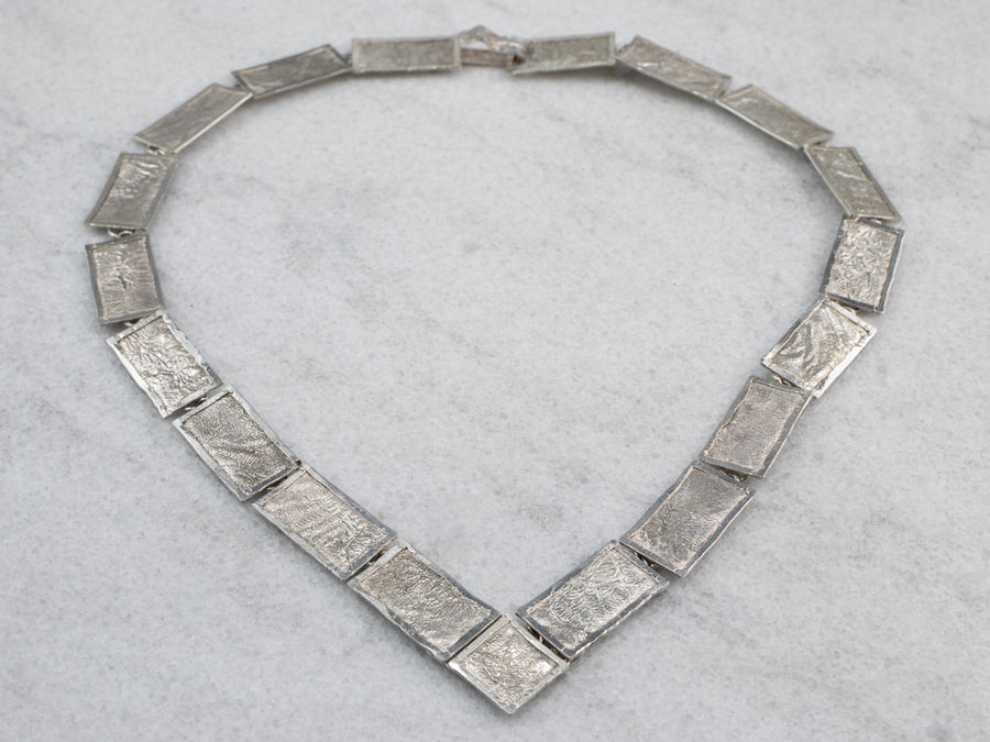 Textured Sterling Silver Panel Necklace