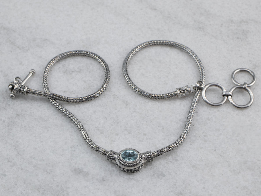 Sterling Silver Blue Topaz Solitaire Necklace