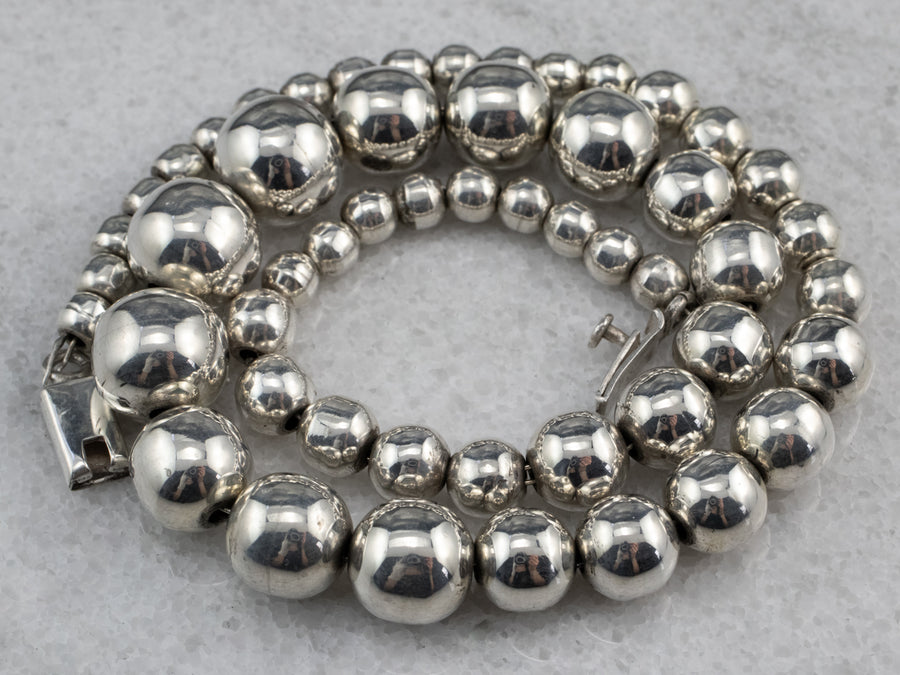 Silver Graduated Beaded Ball Chain Necklace
