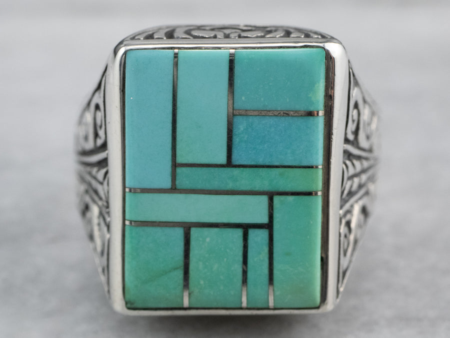 Sterling Silver Turquoise Intarsia Ring