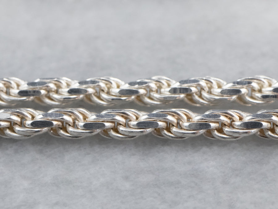 Long Sterling Silver Twist Chain