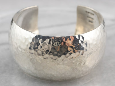 Hammered Sterling Silver Wide Cuff Bracelet