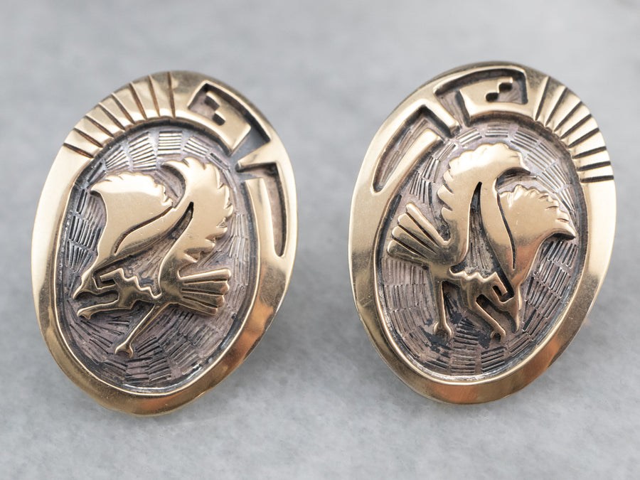 Navajo Eagle Sterling Silver Stud Earrings