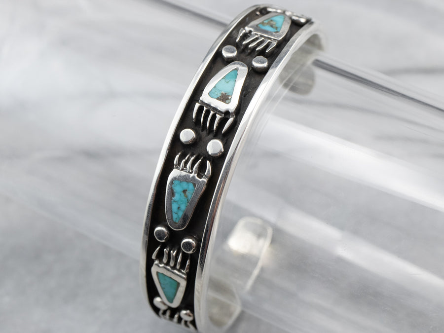 Native American Bear Paw Turquoise Cuff Bracelet