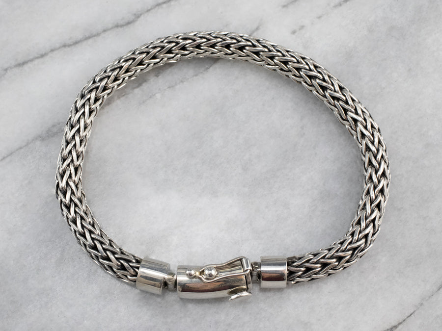 Sterling Silver Vintage Woven Chain Bracelet