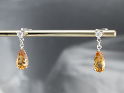 Citrine Diamond Sterling Silver Drop Earrings