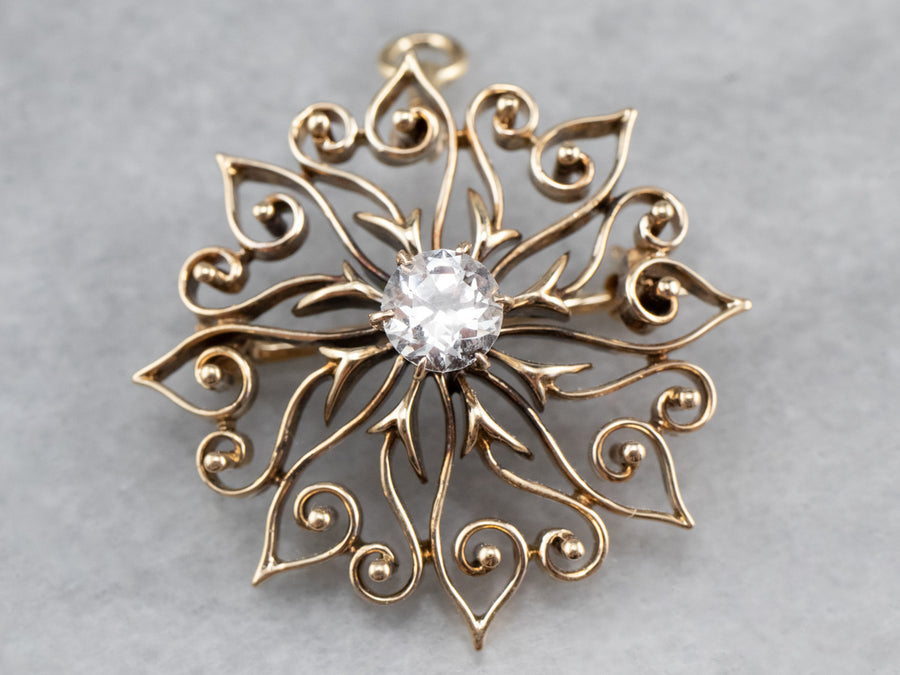Antique White Sapphire Gold Filigree Brooch Pendant