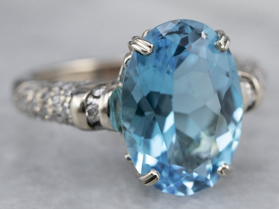 Blue Topaz Diamond White Gold Ring