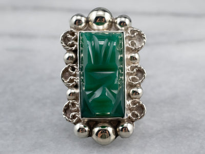 Carved Green Onyx Sterling Silver Ring
