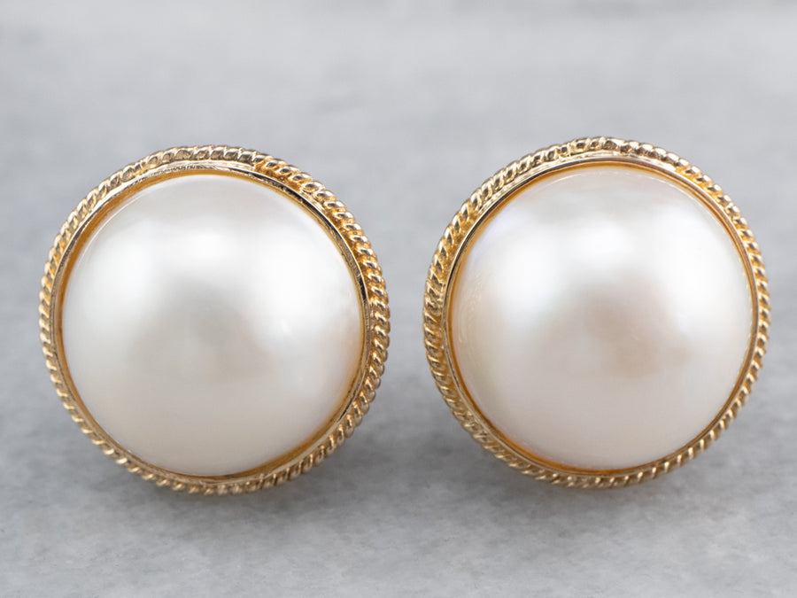 Mabé Pearl Gold Stud Earrings