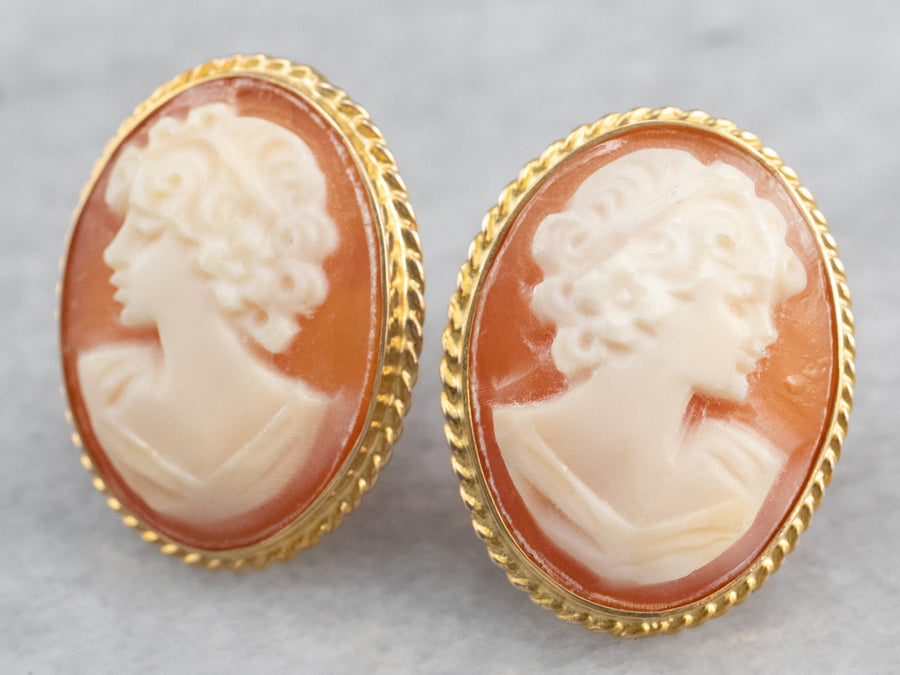Vintage Cameo Gold Stud Earrings