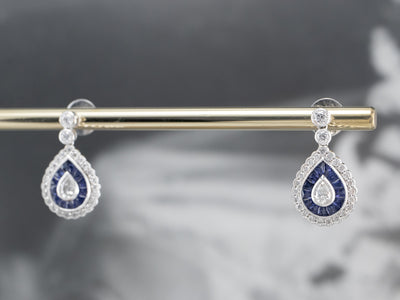 Diamond Sapphire White Gold Teardrop Earrings