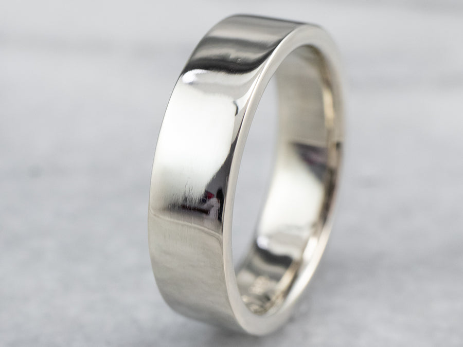 Straight Sided White Gold Wedding Band