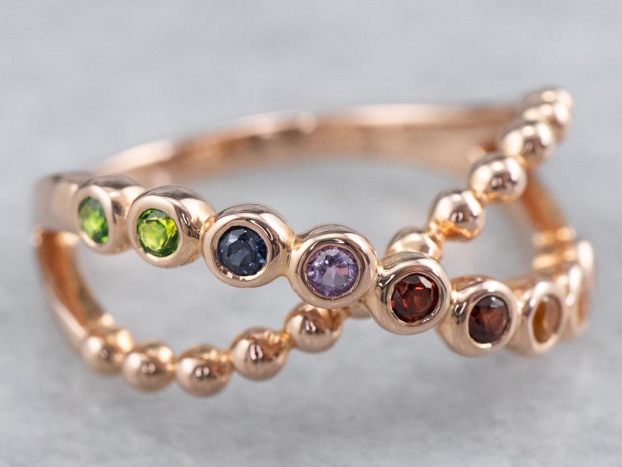 Rainbow Gemstone Rose Gold Band Ring