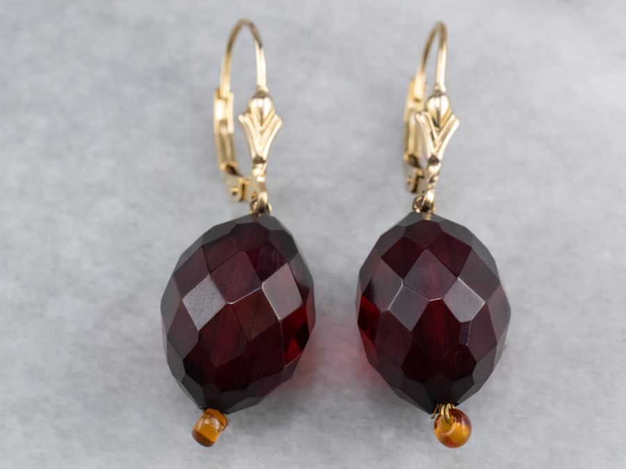 Cherry Amber Bakelite Drop Earrings