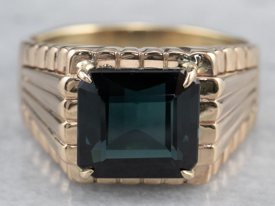 Teal Blue Tourmaline Gold Statement Ring