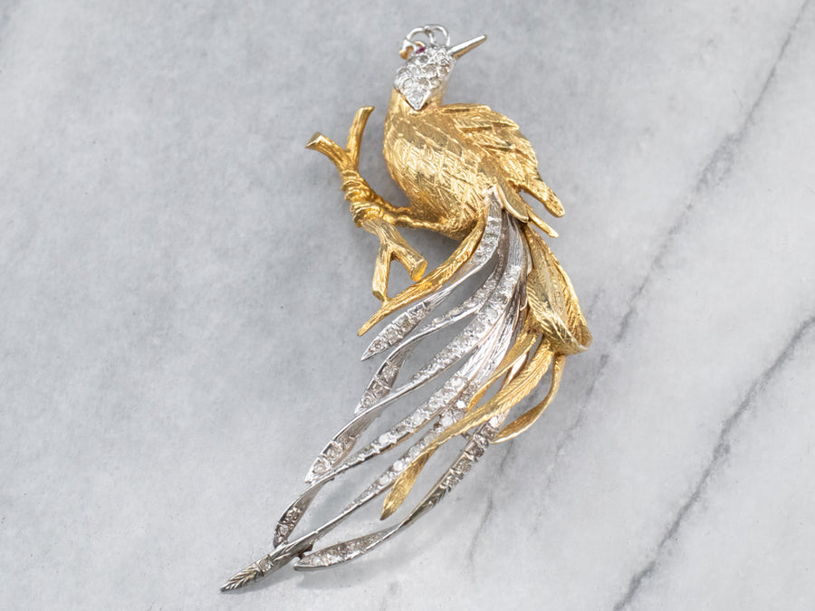 Diamond Bird Gold Platinum Statement Brooch