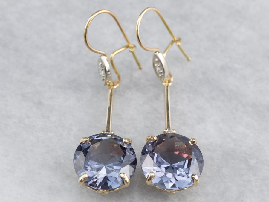 Synthetic Alexandrite Diamond Gold Drop Earrings