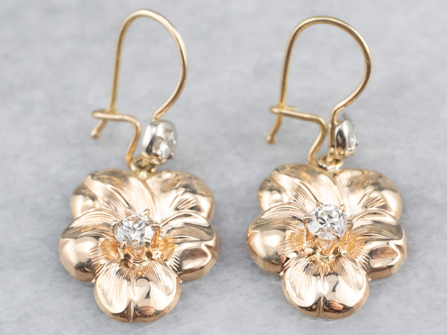 Diamond Floral Gold Drop Earrings
