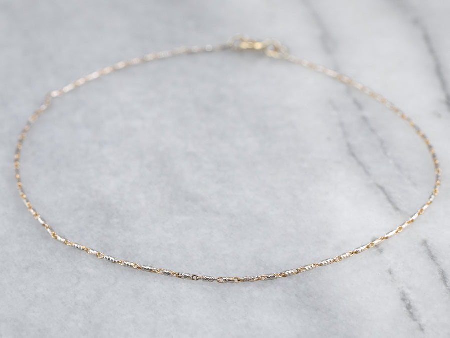 Two Tone Gold Anklet Chain