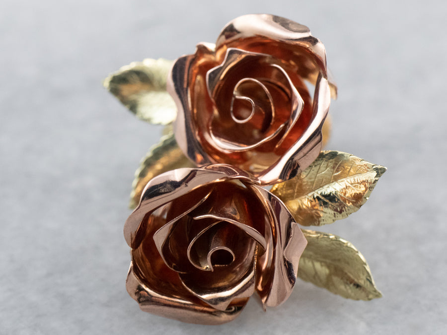 Vintage Sculpted Rose Gold Screw Back Earrings