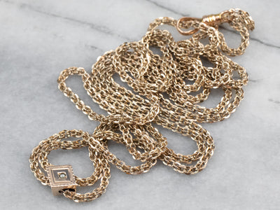 Victorian Long Slide Chain Lariat Necklace