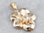 Old Mine Cut Diamond Gold Flower Pendant