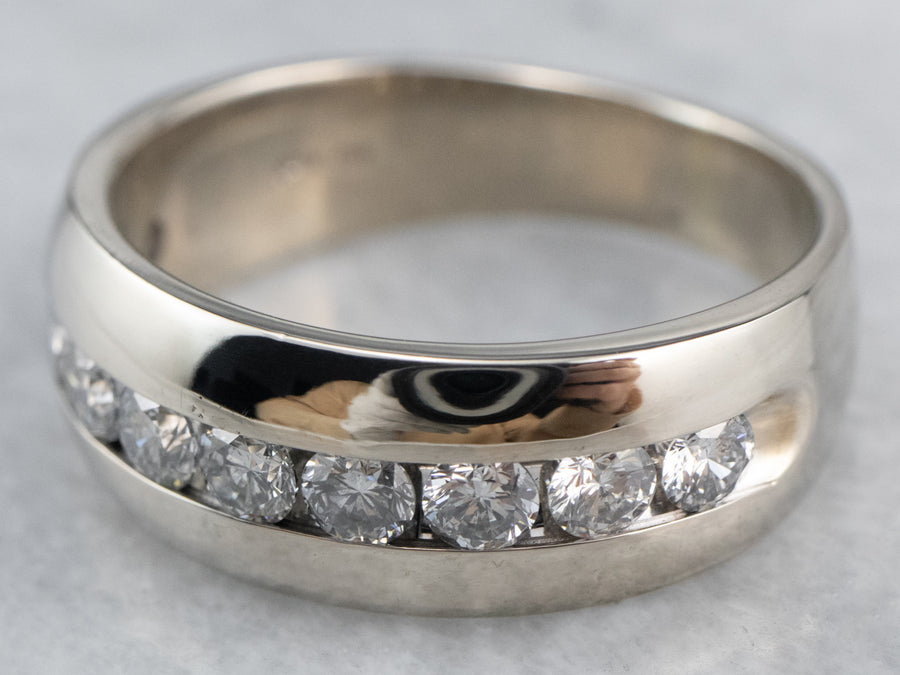 Channel Set Diamond White Gold Wedding Band