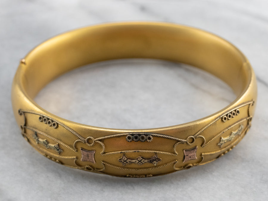 Ornate Etruscan Revival Gold Fill Bangle Bracelet