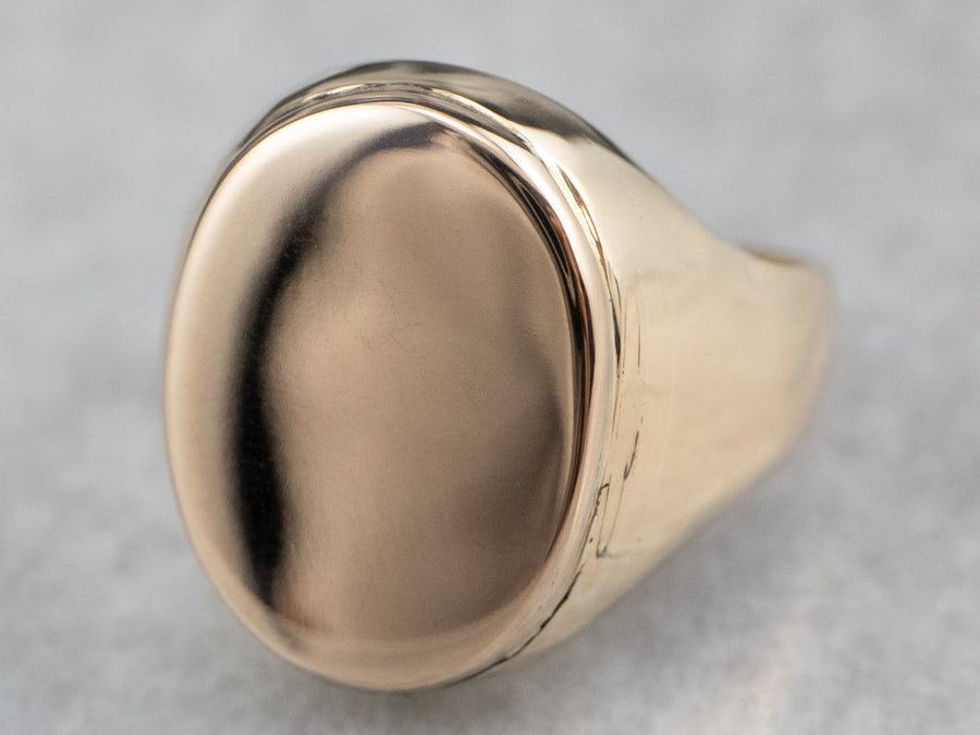 Unisex Plain Gold Signet Ring