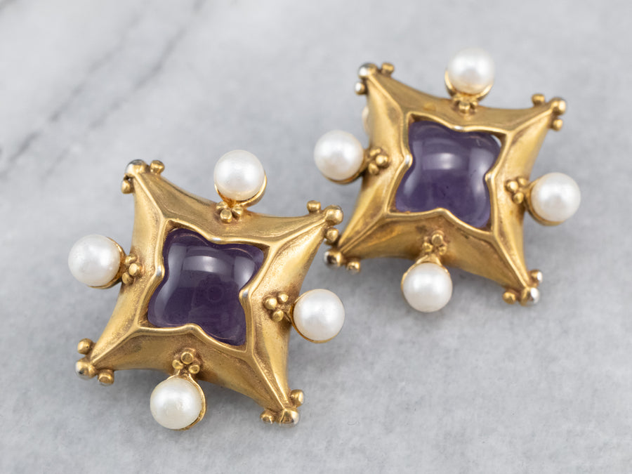 MMA Gold Fill Amethyst and Pearl Stud Earrings