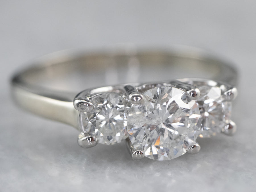 Three Diamond White Gold Engagement Ring