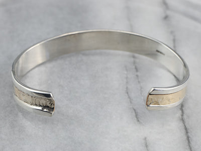 Mixed Metal Hammered Finished Cuff Bracelet